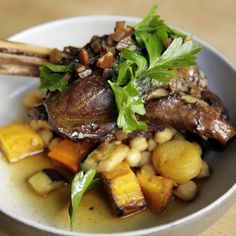 Braised Lamb Shank with Garbanzo Bean Salad