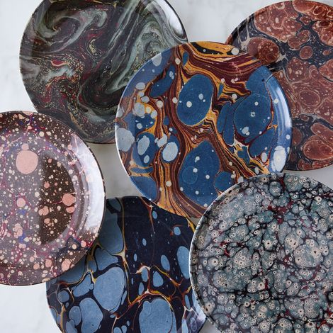 Ebru Print Melamine Plates (Set of 4)