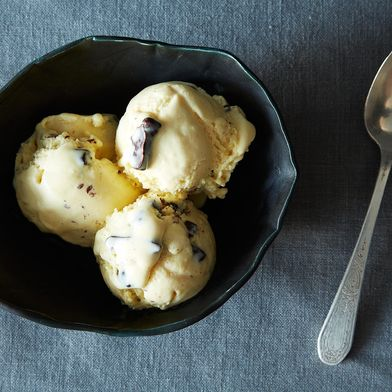 Malted Vanilla Ice Cream with Chocolate-Covered Pretzels
