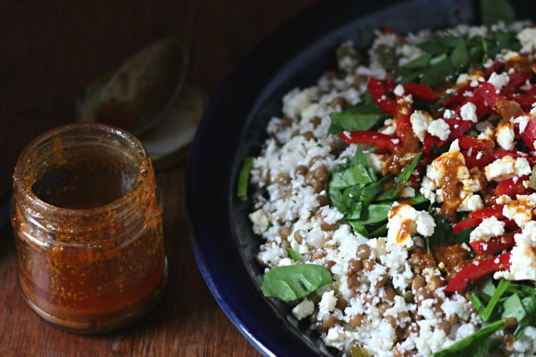Chopped cauliflower, lentil and chermoula salad