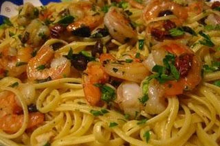 Lemon Pepper Linguine with Spicy Shrimp