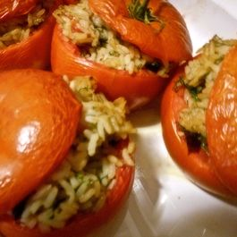 Rice, Dill and Olive Filled Tomatoes