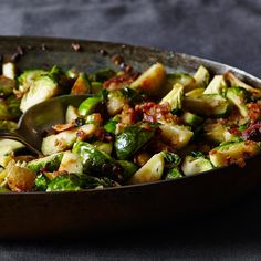 Roasted Brussels Sprouts with Pancetta and Garlic Croutons
