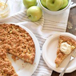 German Apple Streusel Cake with Brown Sugar Mascarpone Cream