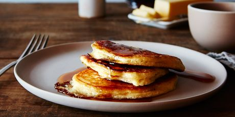 Sunday mornings, we have our fluffy, lazy buttermilk pancakes.
