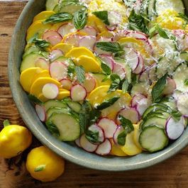 Seamus Mullen's Raw Squash Salad with Radishes, Manchego, and Lemon Vinaigrette