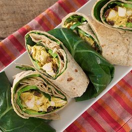 Collard Green Wraps with Curry Chicken Salad