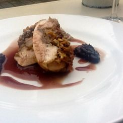 Ballotine of Chicken Breast with Veal Sweetbreads, Perigueux Sauce