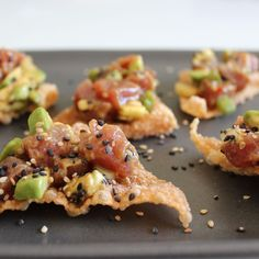 Tuna Sashimi Party Poppers with White and Black Sesame Seeds