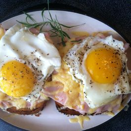 Eggs over Black Forest Ham and Gruyere Cheese