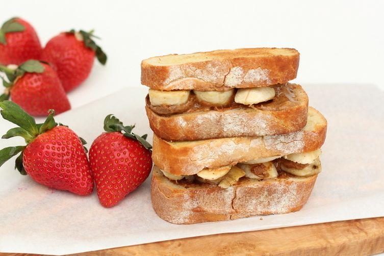 Grilled Almond Butter Honey Banana Sandwich