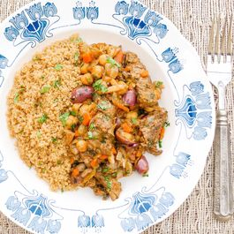 Moroccan Beef Stew with Golden Raisins over Whole Wheat Couscous