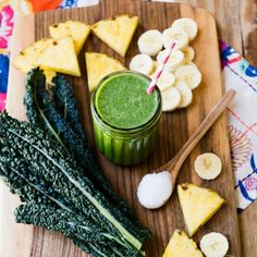 Pineapple Kale Coconut Oil Green Smoothie