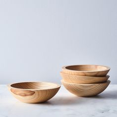 Handcrafted Wood Salad Bowls (Set of 4)