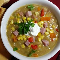 Spicy ham, bean and corn soup
