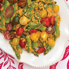 Roasted Asparagus with Tomato-Almond Pesto and Fresh Cherry Tomatoes