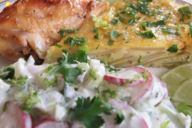 Crunchy Celery, Radish and Turnip Salad-Slaw in Blue Cheese Sauce