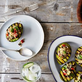 Grilled Avocado Halves with Cumin-Spiced Quinoa and Black Bean Salad