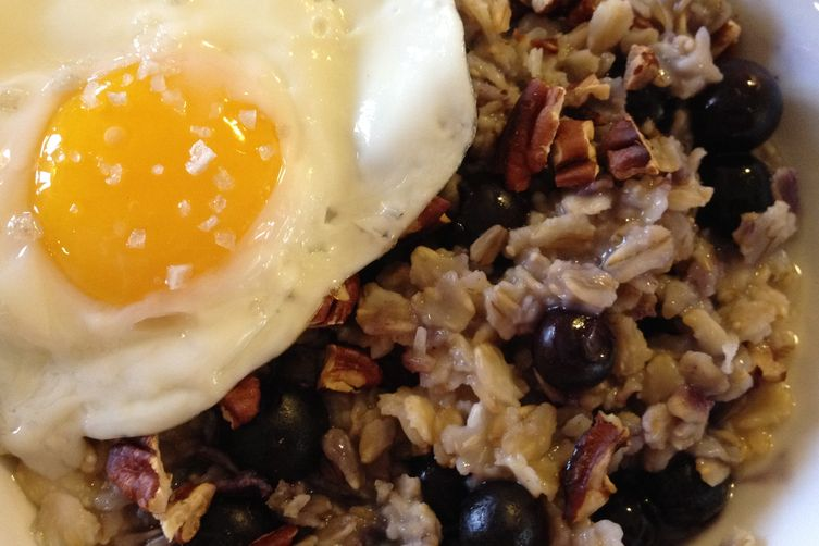 Pecan Blueberry Oatmeal with Sunny-Side Up Egg