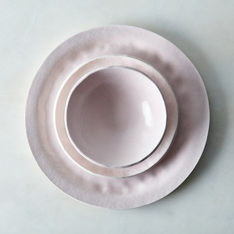 Food52 Pink Textured Porcelain Dinnerware Set, by Looks Like White