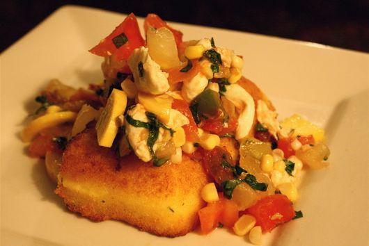 Parmesan Polenta Steaks with Tomato-Basil Salad and Crispy Prosciutto