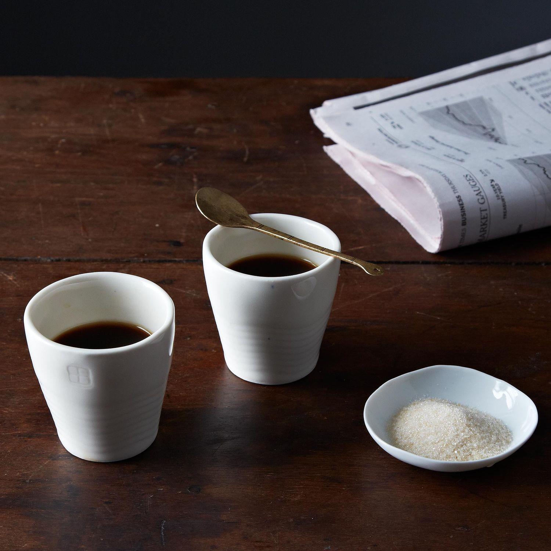 simple espresso cups (set of ) on food -