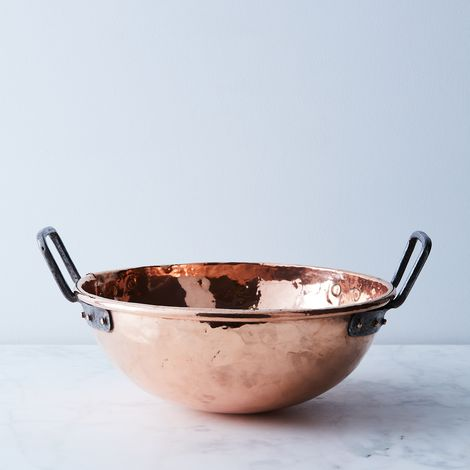 Vintage Copper French Large Mixing Bowl, Mid 19th Century