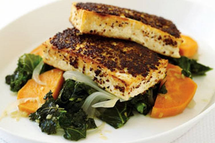 With Vegan Diet Athletes Improve Health And Thrive-Mustard-Crusted Tofu with Kale and Sweet Potato