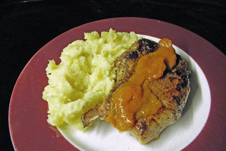 Pork Chops With Marsala Apricot Sauce and Mashed French Potatoes