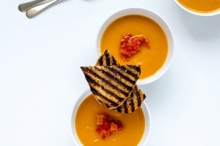 Pumpkin Soup with Roasted Pepper Salsa