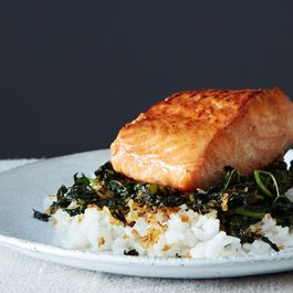 Crispy Coconut Kale with Roasted Salmon and Coconut Rice