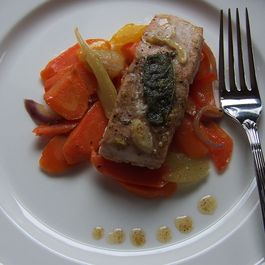 Slow Roasted Brown Butter & Sage Salmon with Garden Vegetables