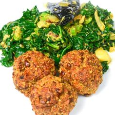 """Lentilballs"" with kale and coconut stir fry"