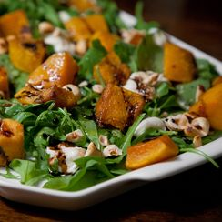 Arugula with Roasted Squash, Burrata, Hazelnuts & Balsamic Glaze