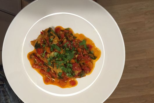 Dag Charif (Poached Fish in Spicy Sauce)