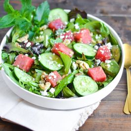 Watermelon and Cucumber Salad with Mint-Honey Vinaigrette