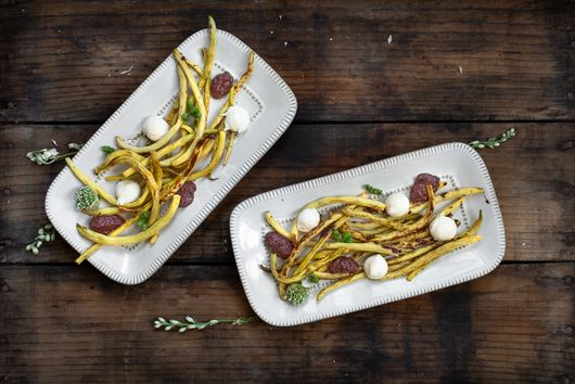 Blistered String Beans with Olive Puree, Mozzarella, and Basil Oil
