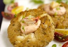 Crab Cakes with Wasabi Red Pepper Sauce