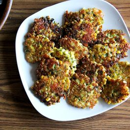Corn Fritters with Cheddar and Scallions