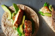 Salmon and Snow Pea Roti Wraps