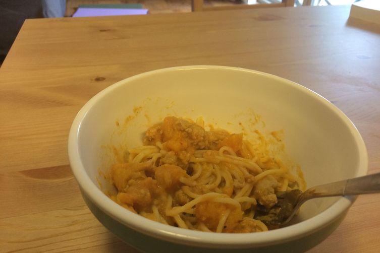 Pasta with roast butternut squash, ground turkey, and pumpkin sauce