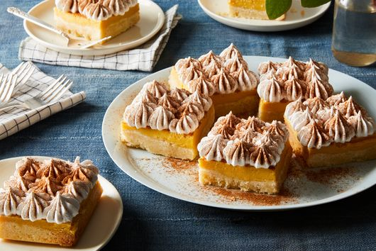 Custardy Shortbread Bars With Boozy Meringue Topping