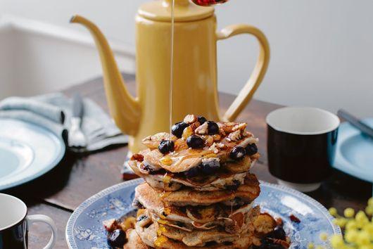 Banana, Blueberry, and Pecan Pancakes