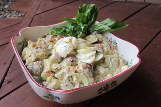 Grilled Eggplant-Potato Salad with Spicy Homemade Basil Mayonnaise