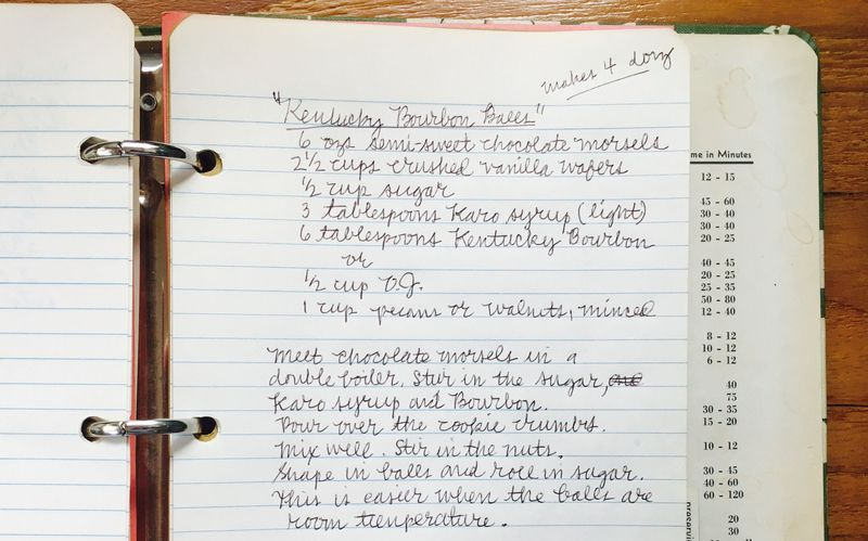 Jane's original recipe—from John's mother's recipe book.
