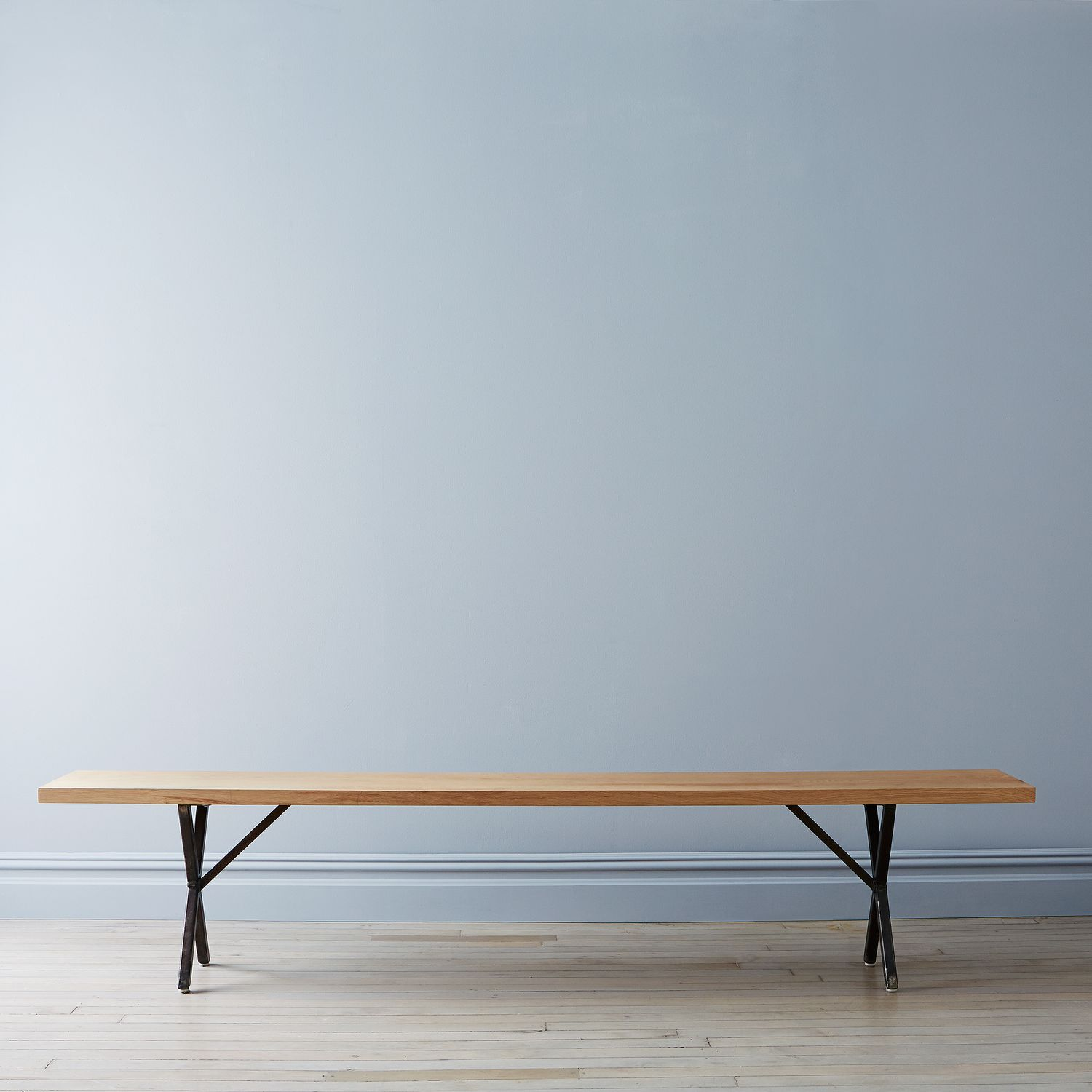 Solid white oak rusted steel farm table bench on food52 for Table 52 roanoke va