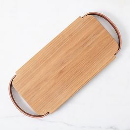Leather-Handled Oak Tray
