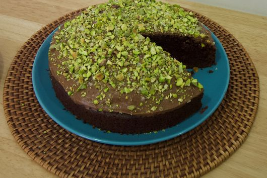 Chocolate Olive Oil Cake with Pistachio Crunch
