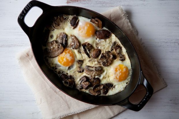 Baked Eggs with Mushrooms and Gruyere