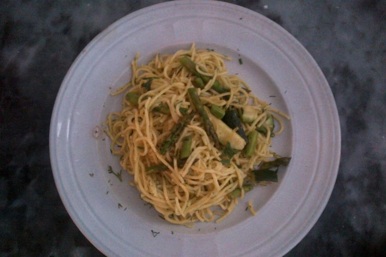 Spring Pasta with Roasted Asparagus, Zucchini and Lemon Dill Creme Fraiche